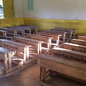 student desks lined up