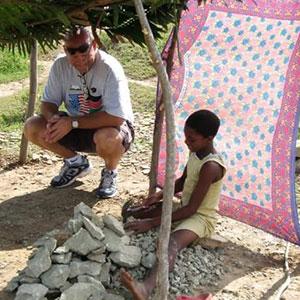 Girl making gravel