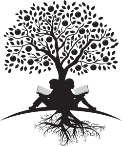 Kids reading under tree logo