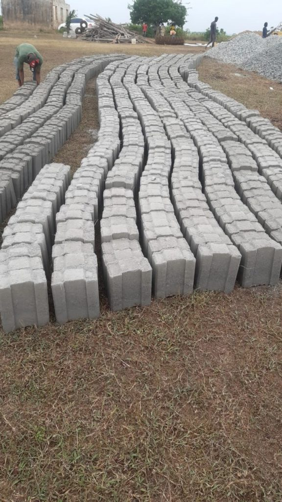 blocks for building school lined up