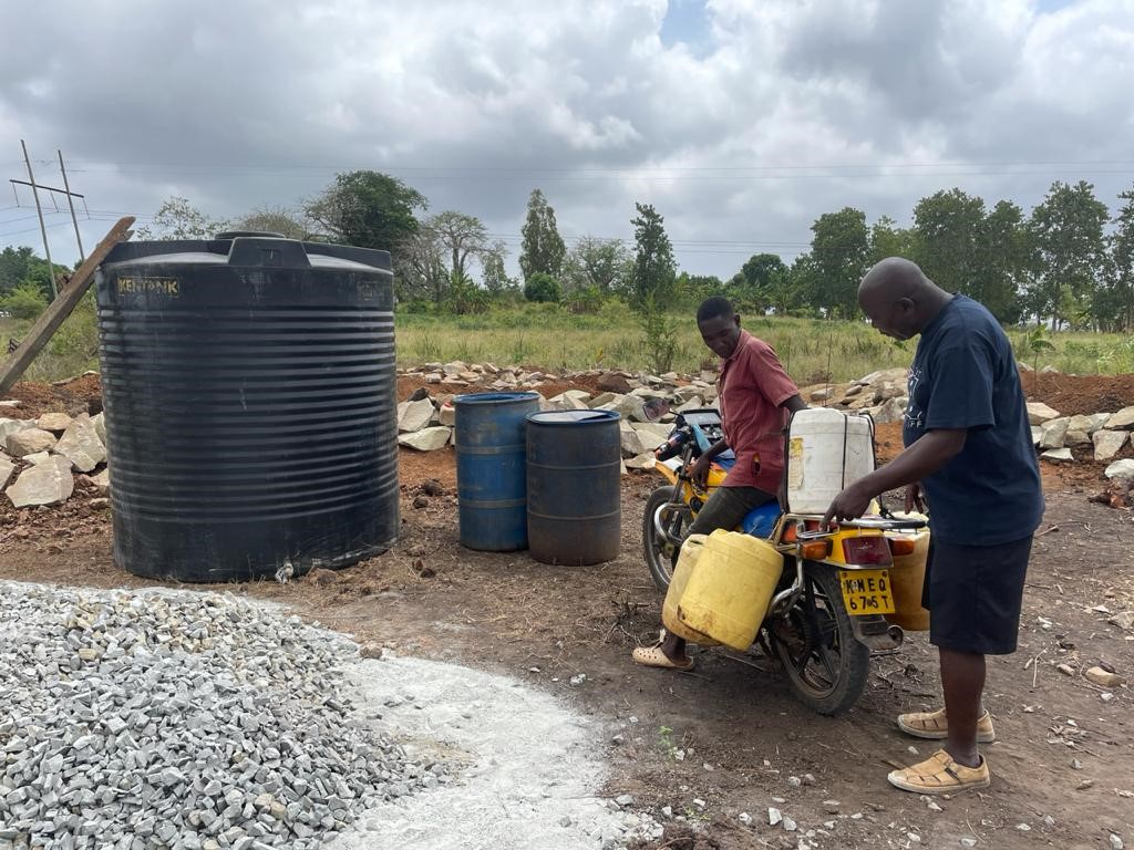Workers working on the new school